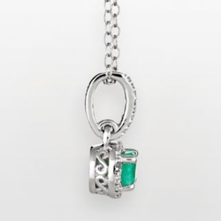 Sterling Silver Emerald and Diamond Accent Frame Pendant