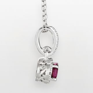 Sterling Silver Ruby and Diamond Accent Frame Pendant