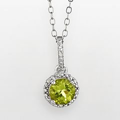 Sterling Silver Peridot & Diamond Accent Frame Pendant
