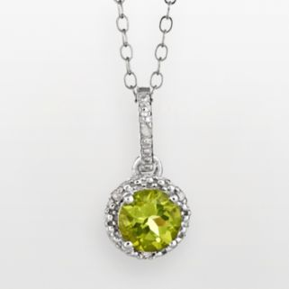 Sterling Silver Peridot and Diamond Accent Frame Pendant