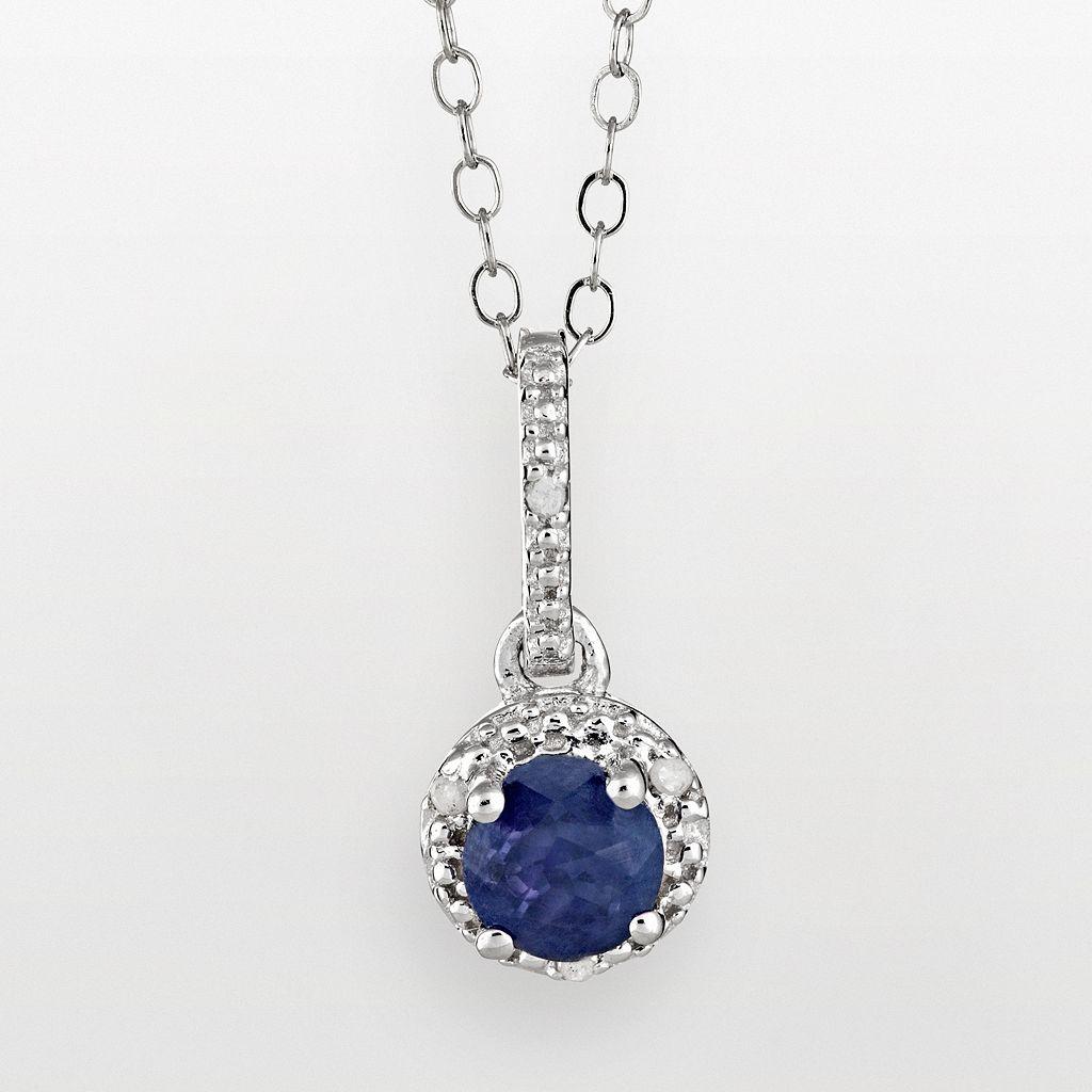 Sterling Silver Sapphire & Diamond Accent Frame Pendant
