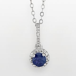 Sterling Silver Sapphire and Diamond Accent Frame Pendant