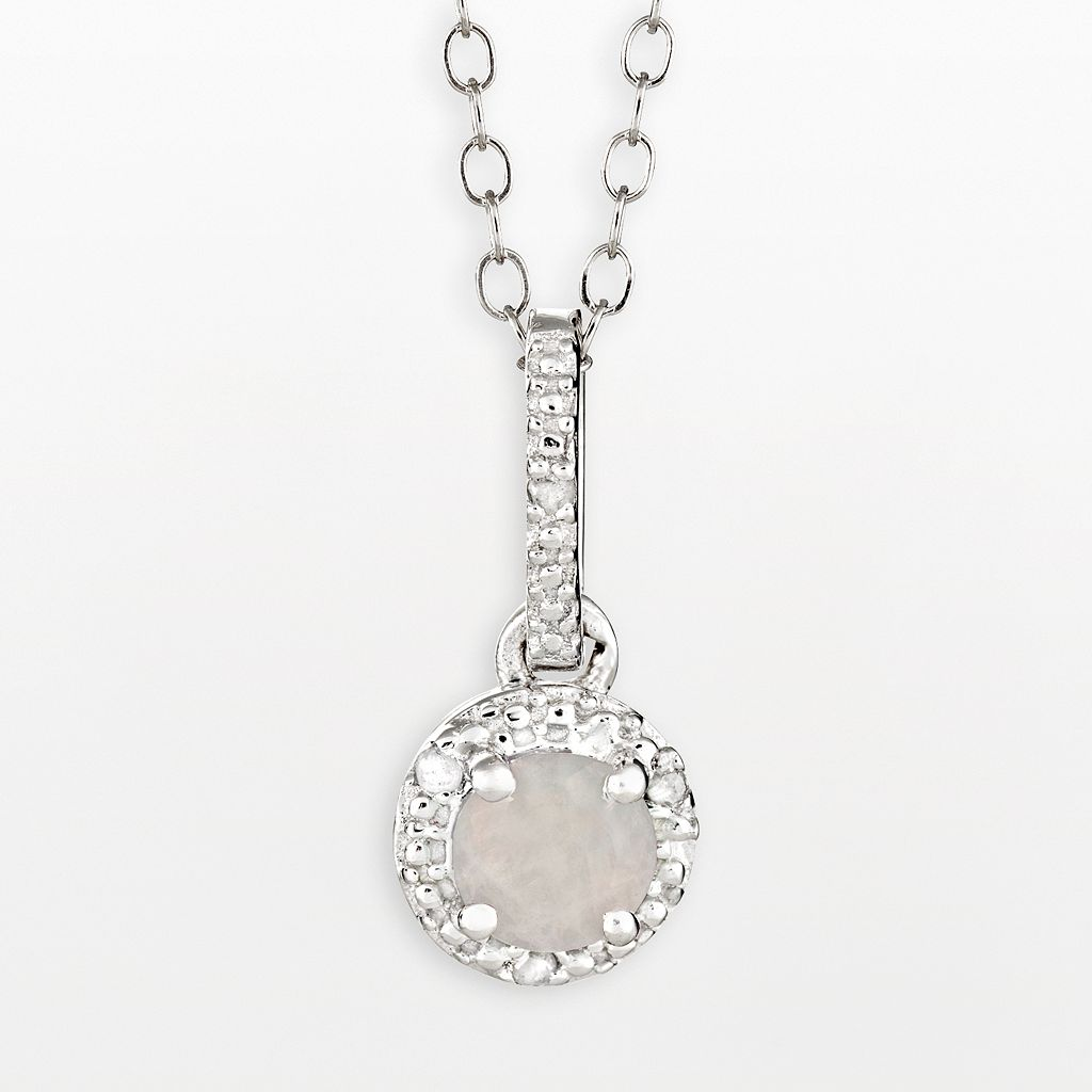 Sterling Silver Opal & Diamond Accent Pendant