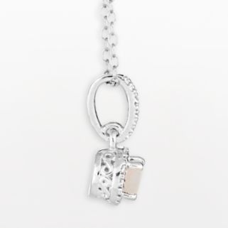 Sterling Silver Opal and Diamond Accent Pendant