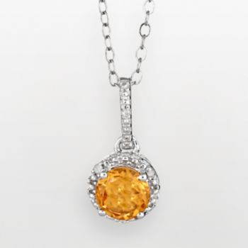 Sterling Silver Citrine and Diamond Accent Frame Pendant