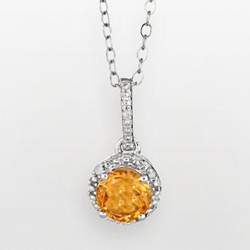 Sterling Silver Citrine & Diamond Accent Frame Pendant