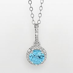 Sterling Silver Blue Topaz & Diamond Accent Frame Pendant