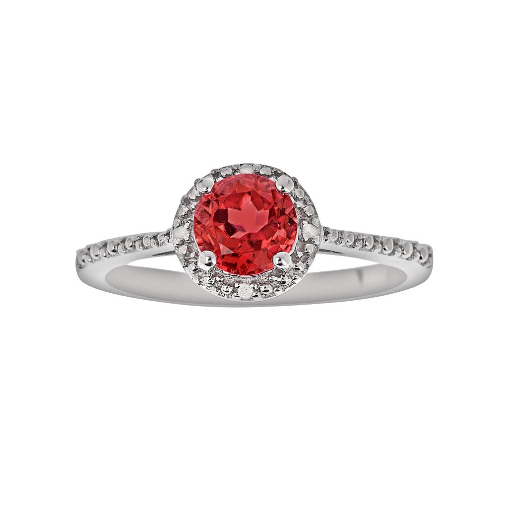 Sterling Silver Garnet & Diamond Accent Frame Ring