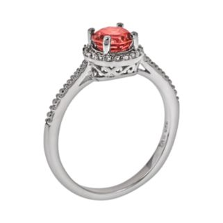Sterling Silver Garnet and Diamond Accent Frame Ring