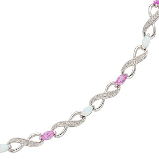 Sterling Silver Lab-Created Opal, Lab-Created Pink Sapphire and Diamond Accent Infinity Bracelet