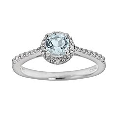 Sterling Silver Aquamarine & Diamond Accent Frame Ring