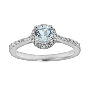 Sterling Silver Aquamarine and Diamond Accent Frame Ring