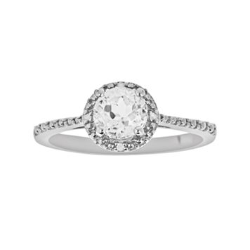 Sterling Silver White Topaz & Diamond Accent Frame Ring