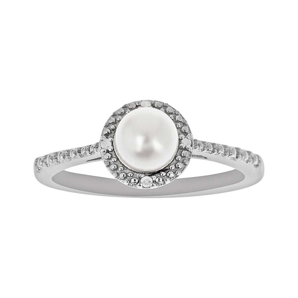 Sterling Silver Freshwater Cultured Pearl & Diamond Accent Frame Ring