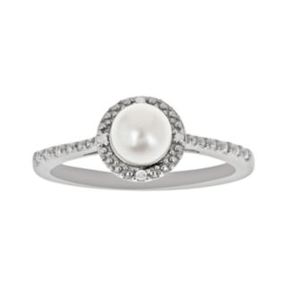 Sterling Silver Freshwater Cultured Pearl and Diamond Accent Frame Ring