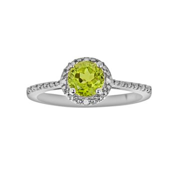 Sterling Silver Peridot & Diamond Accent Frame Ring