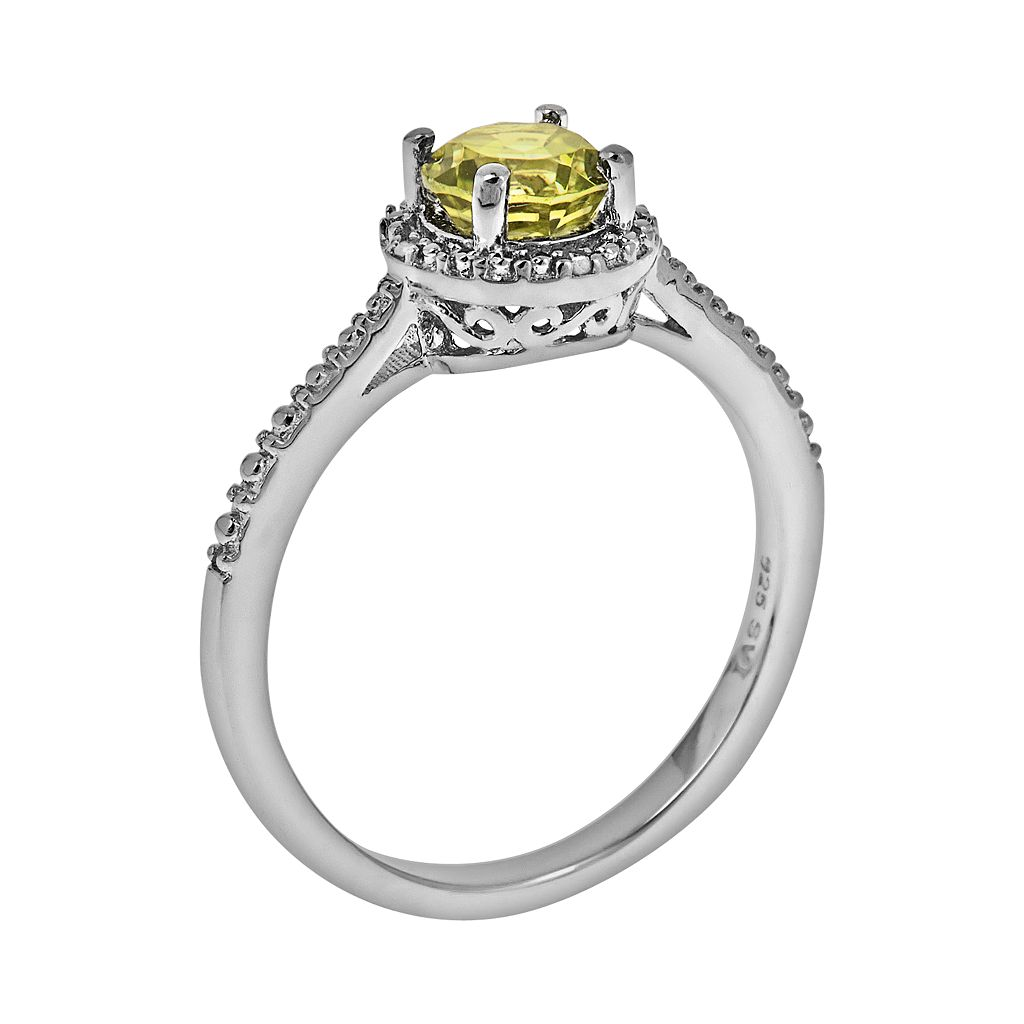 Sterling Silver Peridot and Diamond Accent Frame Ring