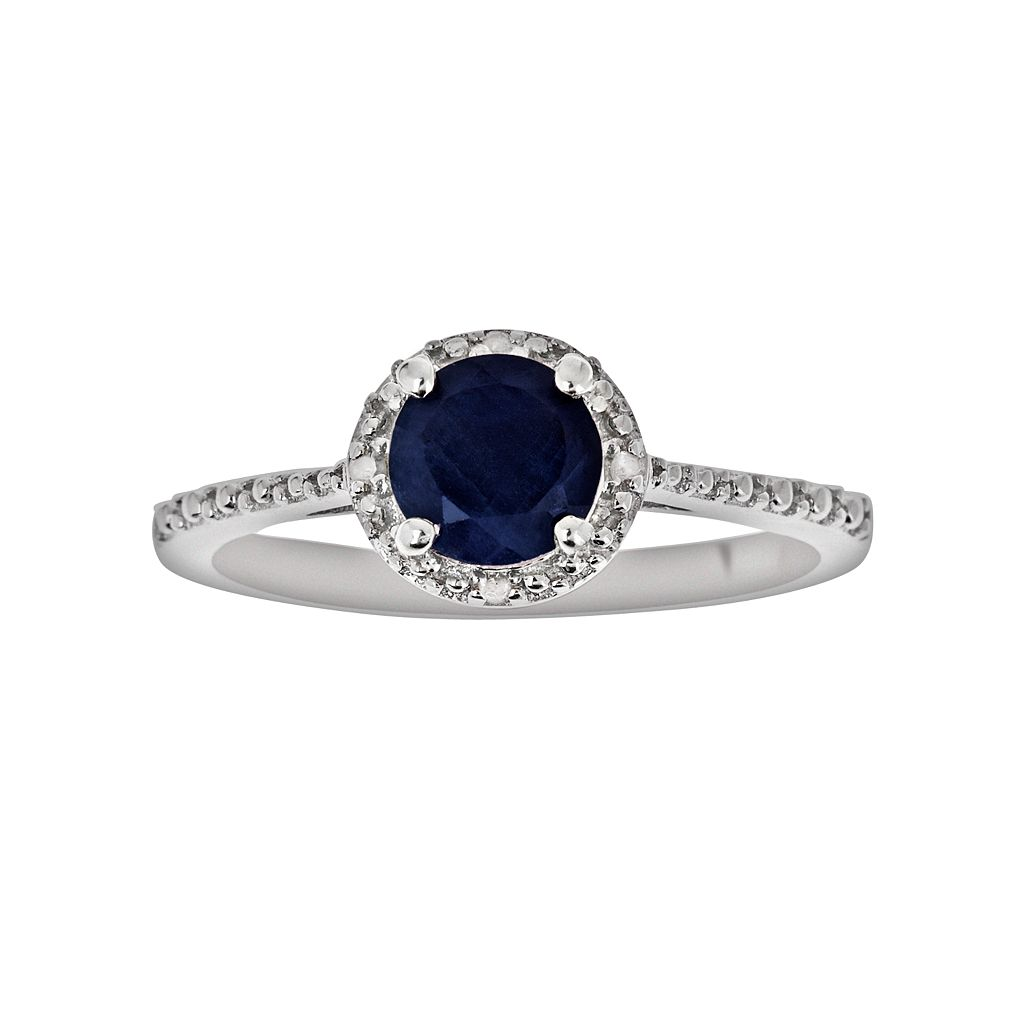 Sterling Silver Sapphire & Diamond Accent Frame Ring