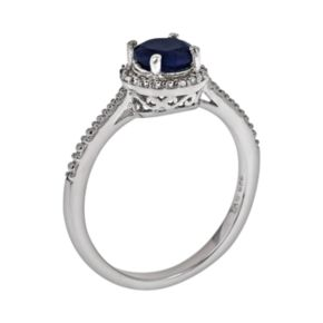 Sterling Silver Sapphire and Diamond Accent Frame Ring