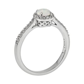 Sterling Silver Opal and Diamond Accent Frame Ring