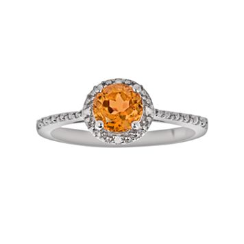 Sterling Silver Citrine & Diamond Accent Frame Ring