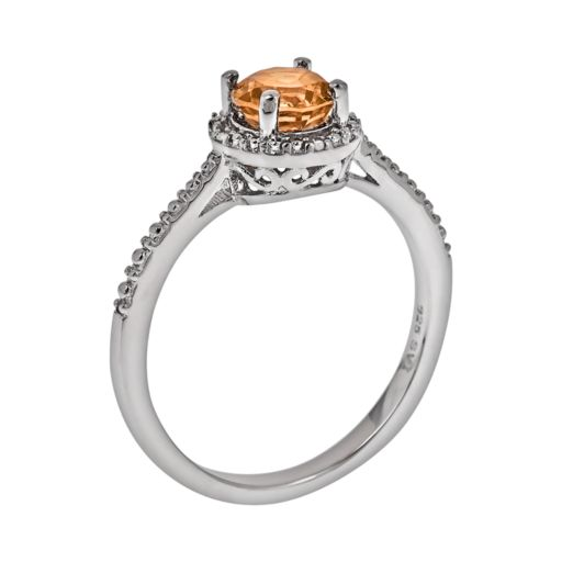 Sterling Silver Citrine and Diamond Accent Frame Ring
