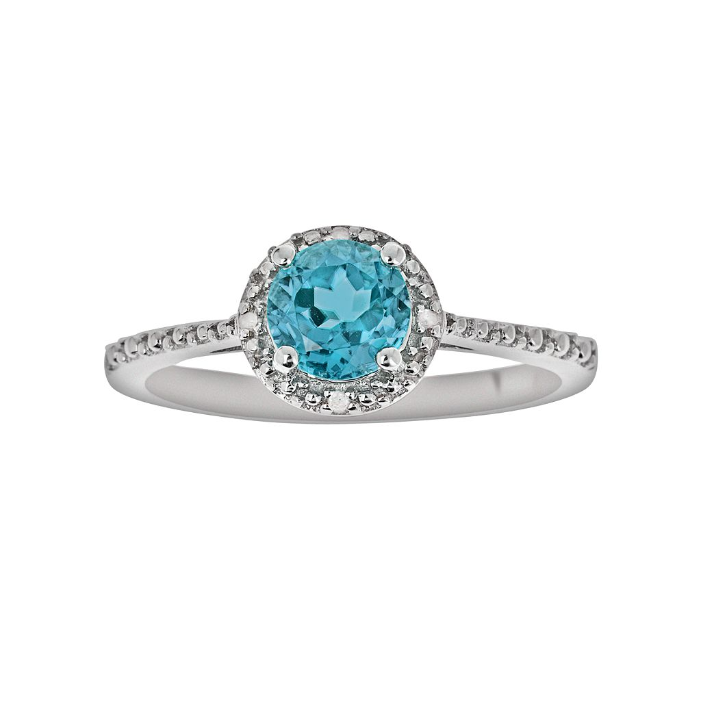 Sterling Silver Blue Topaz & Diamond Accent Frame Ring