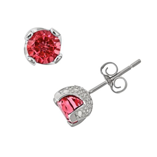 Sterling Silver Garnet and Diamond Accent Stud Earrings