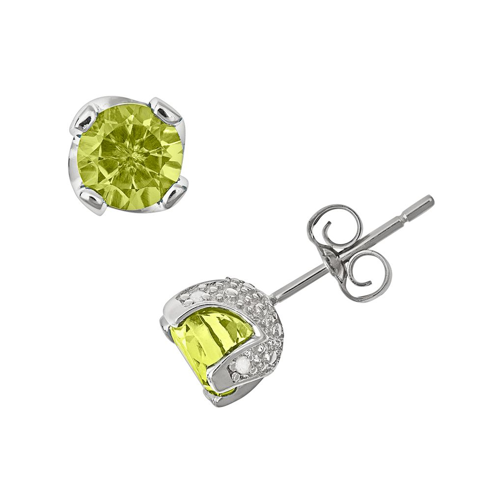 Sterling Silver Peridot & Diamond Accent Stud Earrings