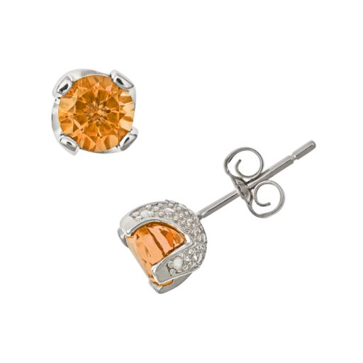 Sterling Silver Citrine and Diamond Accent Stud Earrings