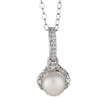 Sterling Silver Freshwater Cultured Pearl and Diamond Accent Frame Pendant