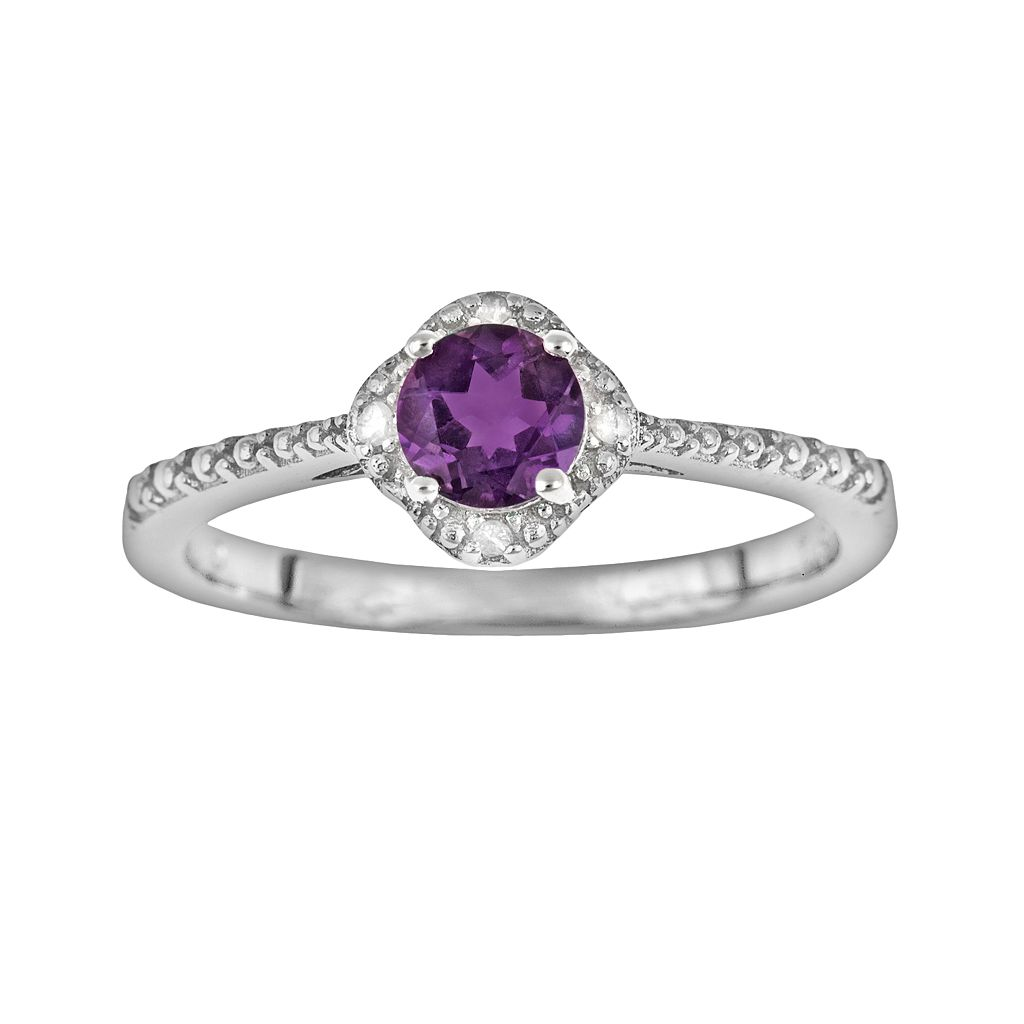 Sterling Silver Amethyst & Diamond Accent Frame Ring