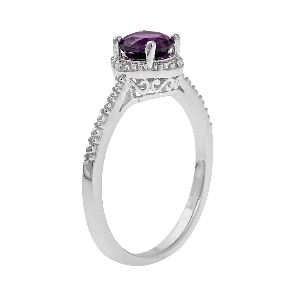 Sterling Silver Amethyst and Diamond Accent Frame Ring