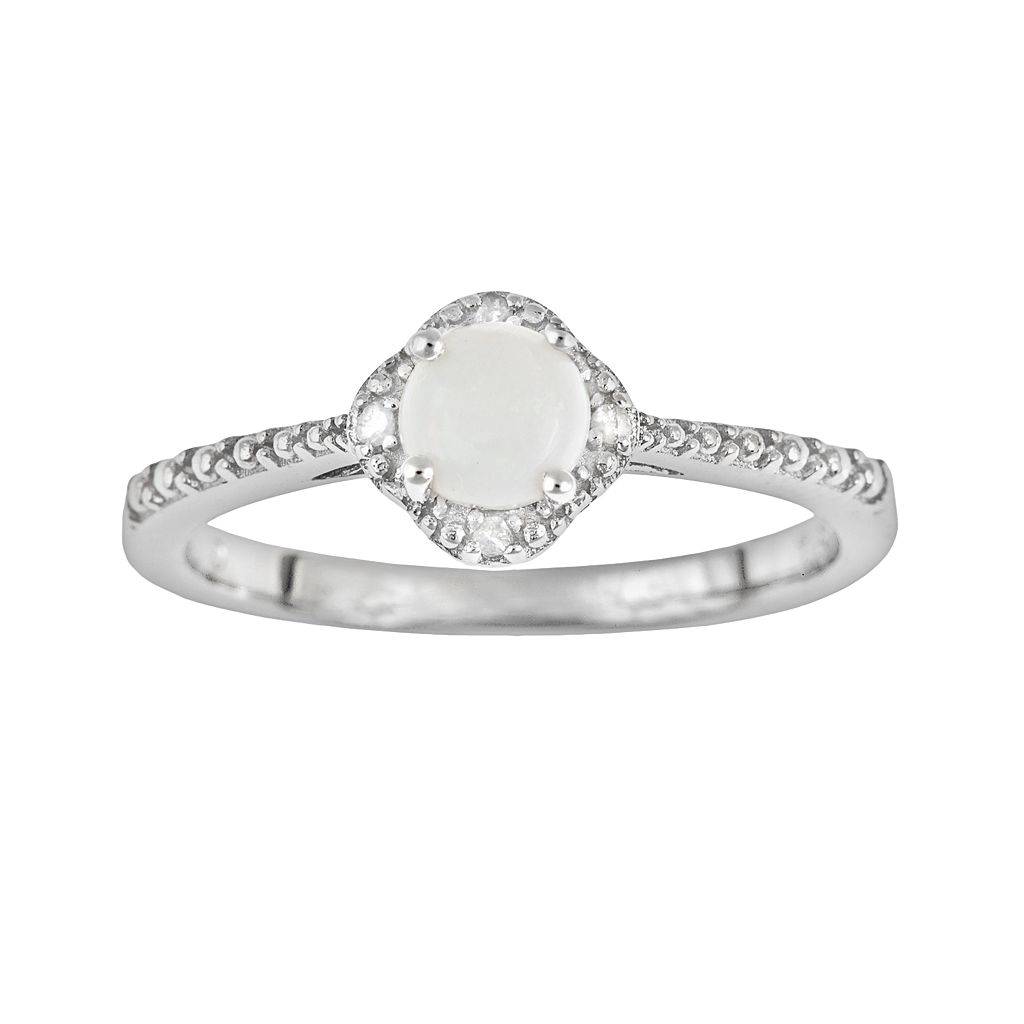 Sterling Silver Opal & Diamond Accent Frame Ring