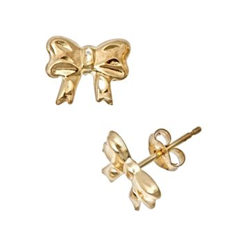 14k Gold Bow Stud Earrings - Kids