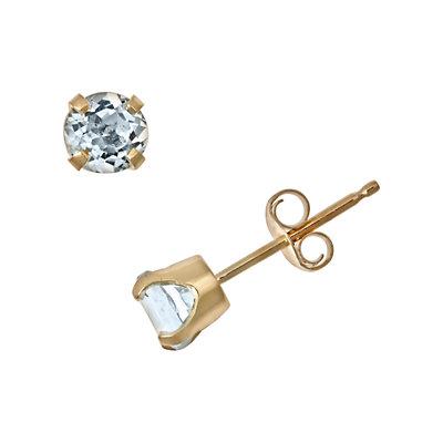 14k Gold Aquamarine Stud Earrings - Kids