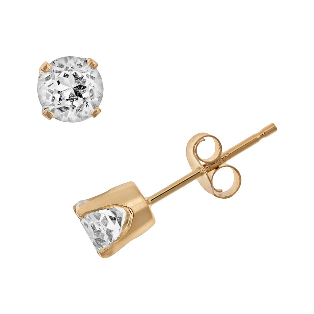 14k Gold White Topaz Stud Earrings - Kids
