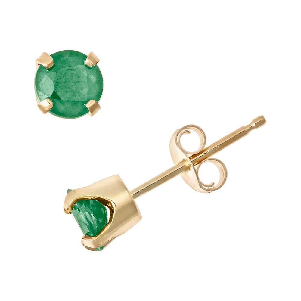 bfddfe274e145 14k Gold Emerald Stud Earrings - Kids