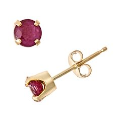 14k Gold Ruby Stud Earrings - Kids
