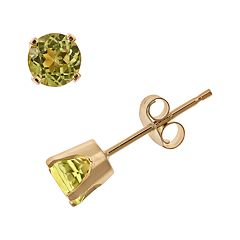 14k Gold Peridot Stud Earrings - Kids