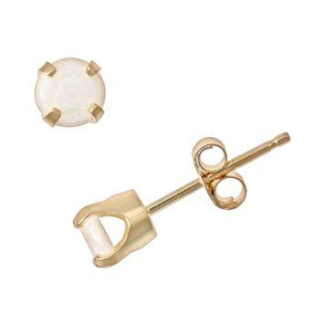 14k Gold Opal Stud Earrings - Kids