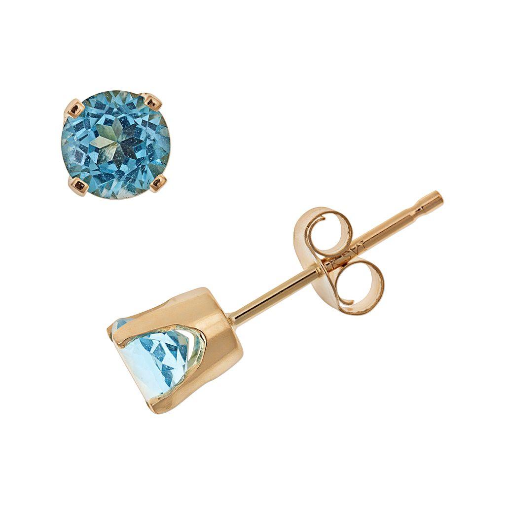 14k Gold Blue Topaz Stud Earrings - Kids