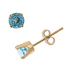 14k Gold Blue Topaz Stud Earrings - Kids