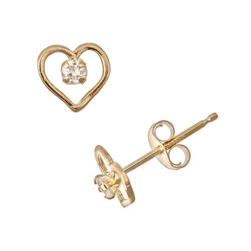 14k Gold Cubic Zirconia Heart Stud Earrings - Kids