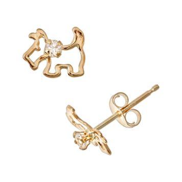 14k Gold Cubic Zirconia Scottie Dog Stud Earrings - Kids