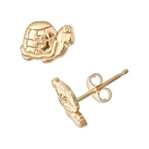 14k Gold Diamond Accent Turtle Stud Earrings