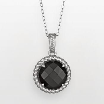 Sterling Silver Black Agate Twist Frame Pendant