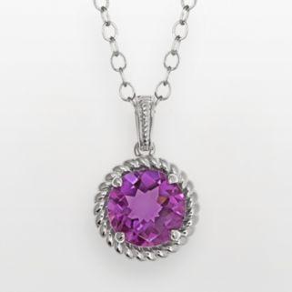 Sterling Silver Amethyst Twist Halo Pendant Necklace