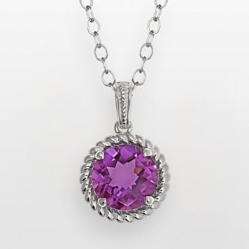Sterling Silver Amethyst Twist Halo Pendant Necklace