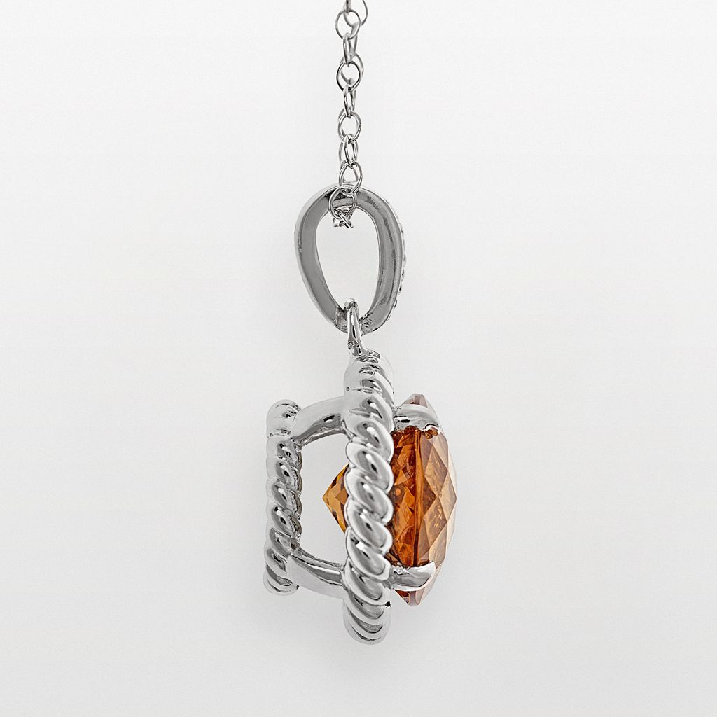 Sterling Silver Whiskey Quartz Twist Frame Pendant